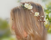 Flower Hair Wreath, Bohemian Flower Crown, Woodland Hair - ShepherdoftheSea