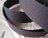 "Twill Tape Dark Gray Cotton 4 Yards 5/8"" - lallehandmade"