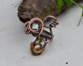 Copper Handforged Ring - Metalwork - Pearl - Swarovski Crystal