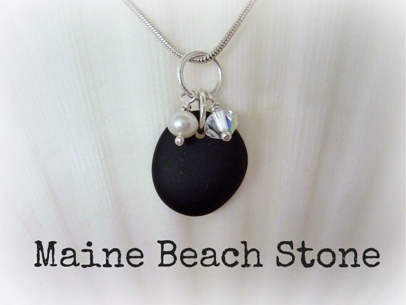Maine Beach Stone Jewelry Necklace - Black Stone with FW Pearl and Swarovski Crystal - Genuine Maine Beach Stone Jewelry