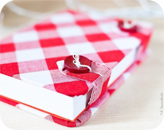 White and red plaid handmade notebook - Christmas in July