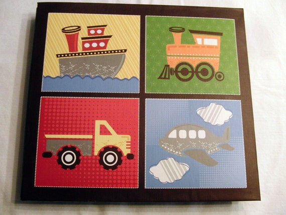 Premade Scrapbook Planes,Trains,Trucks,and Boats Boy 8x8 Ready made Scrapbook