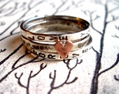Love Is...Stacking Bands in Sterling Silver:  Hand Stamped Personalized