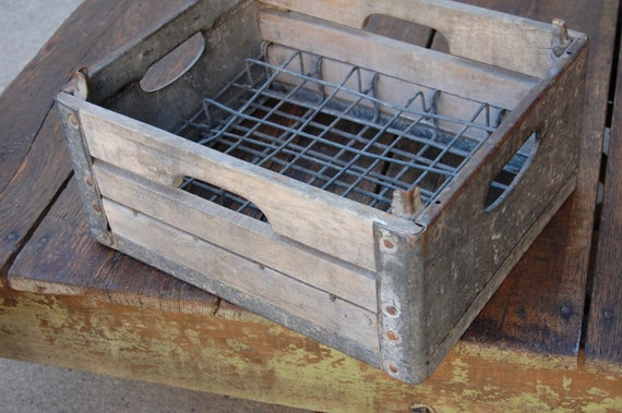 Vintage Farm Industrial Wood & Metal Milk Crate Box