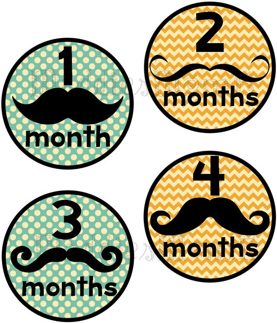 Mustache Monthly Onesie Stickers - Harry -Baby Boy Blue Orange Yellow