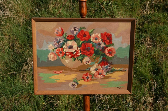 1950s Paint by Numbers - Mid Century Floral Painting - Retro Wall Decor
