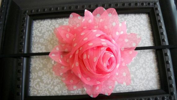 FREE SHIPPING-Pink and White Polka Dots-Clip or Headband- BIG Shabby Chic Rosette