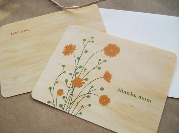 Mother's Day Card - Maple wood. Free shipping.