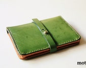 motto - Leather Traveler Purse / passport cover / passport holder ( Genuine leather & Handmade ) - Mottohk