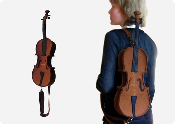 Brown Felt Violin Bag (Violin purse)