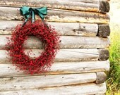CHRISTMAS in JULY-Rustic RED Berry Wreath-Year Round Wreath- Door Wreath-Rustic Home Decor-Scented Apple Cinnamon or Choose your Scent - WildRidgeDesign