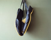 Vintage 90s Nautical Navy Blue Linen Ribbon Raffia Espadrilles Small - VictoriaWestbury