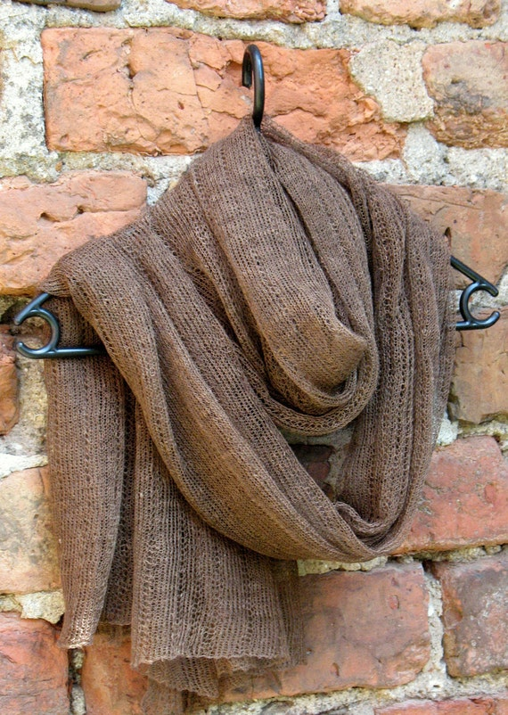 Linen Scarf Shawl Wrap Stole brown, Light, Transparent
