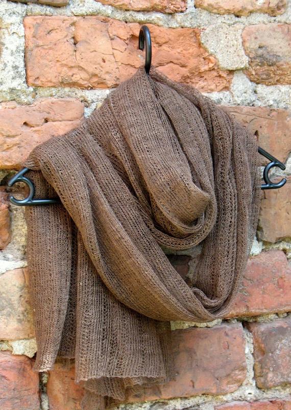 Linen Scarf Shawl Wrap Stole brown, Light, Transparent
