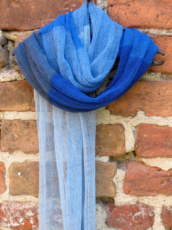 Linen Scarf Shawl Wrap Stole azure cornflower blue - Multicolored, Light, Transparent