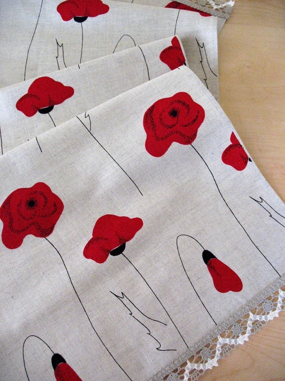 "Linen Table Runner Tablecloth Natural Mother's Day Gifts White Gray Black Red poppy, Linen Lace 57,9"" x 18,9"""