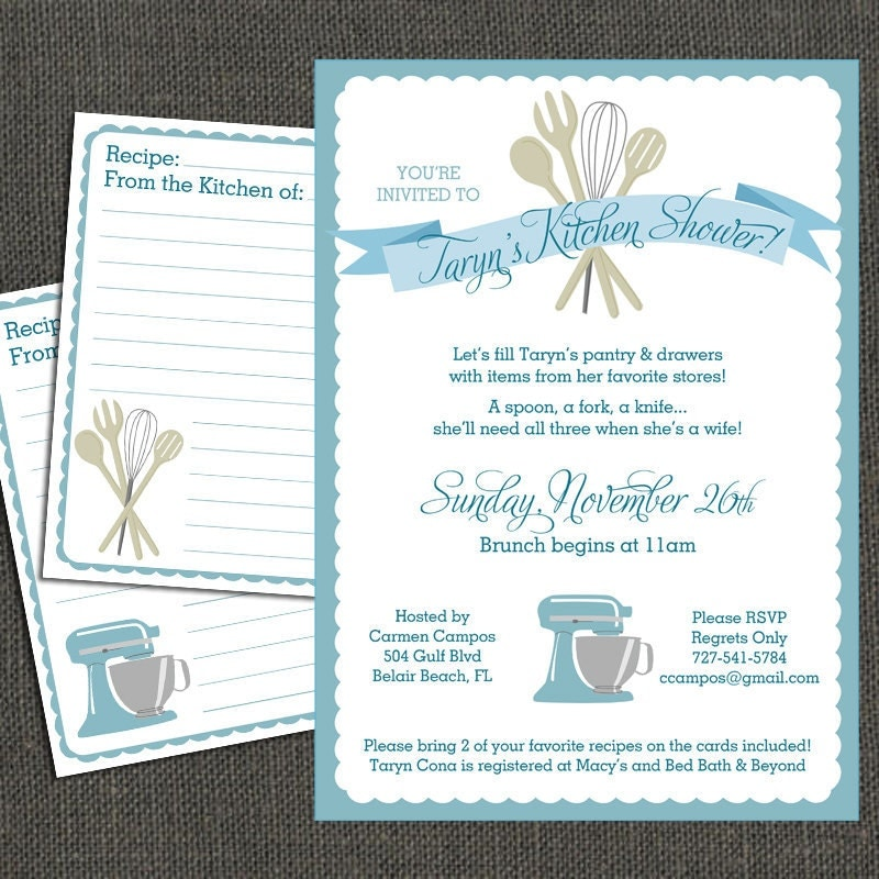 Kitchen Shower Invitation & Recipe Cards