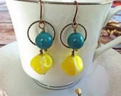 Teal/ Lemon Drop Summer Statement Earrings Vintage Copper - lisdunndesigns