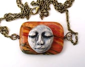 Picture Jasper Pendant Necklace with Ceramic Serene Face and Antique Bronze Chain - TheRedPoppyShop
