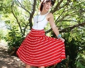 CANDY STRIPE SKIRT Red and white striped rockabilly 1980s full pleated stretch skirt pinup - GunstoreDaddy
