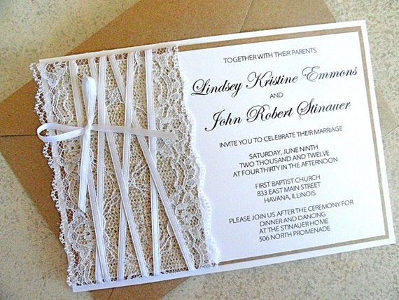 Burlap and Lace Wedding Invitation and rsvp card with Envelope Kraft and White Wedding Invite (FREE SHIPPING within the US)