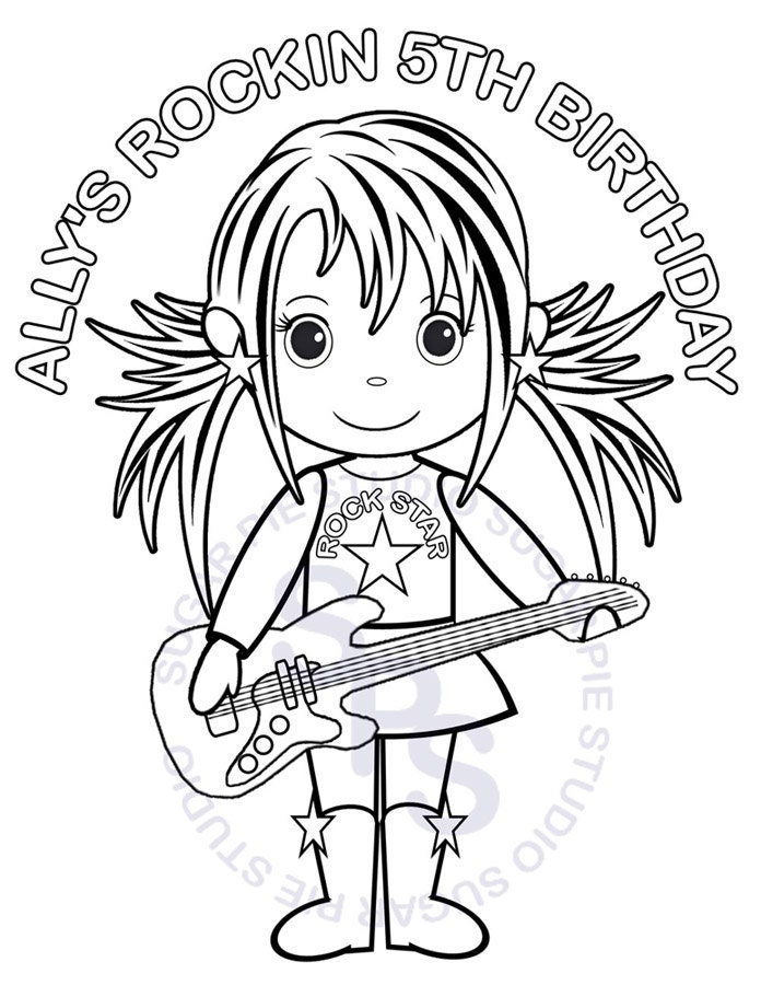 rockstar girl coloring pages - photo#4