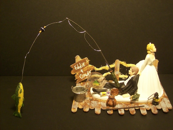 NO FISHING on Dock Bride and Groom Wedding Cake Topper Funny sports