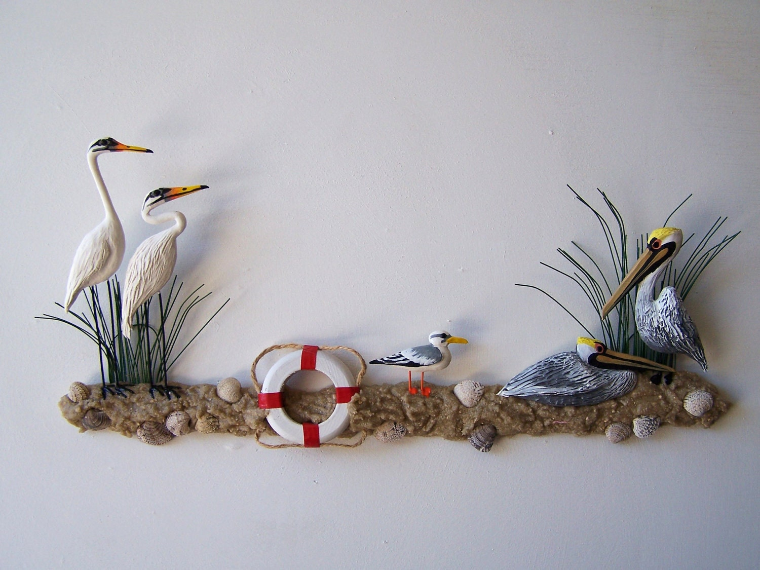Nautical sculpture wall decor with egrets pelicans and by artistJP