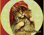 1 1/2 Fabric Cat Button - Cute Little GYPSY Kitten Ready to Ship - CatFabricsandButtons