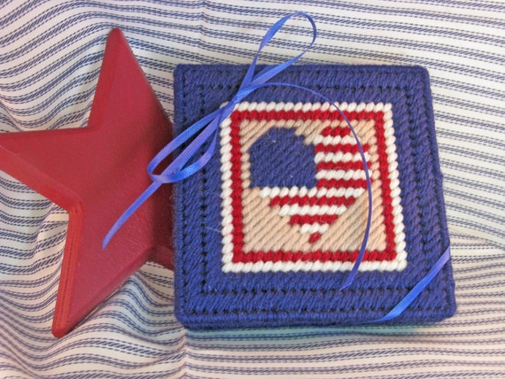 SALE - Coaster Set - Patriotic - Red, white, blue - set of 4 - plastic canvas