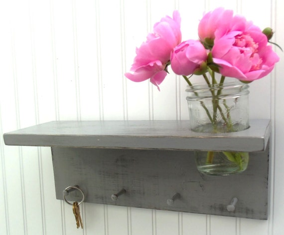 GRAY or GREY vase key hook Cottage wall Decor