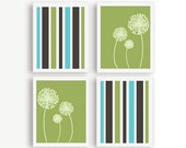 Aqua, Brown, Green Custom Modern Wall Art, Set of Four Art Prints, 8x10, Dandelion Customized Wall Art - NamedByArt