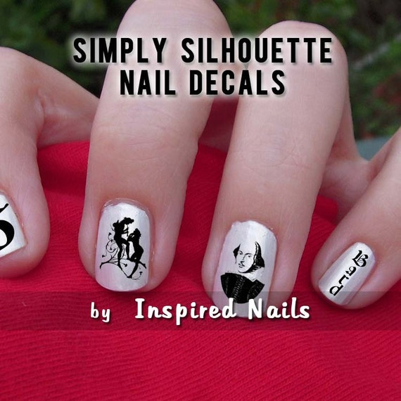 Shakespeare Nail Decals Black and Clear Simply Silhouette by Inspired Nails