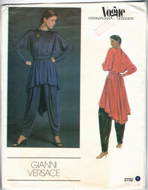 Vogue 2702 by Gianni Versace: 1980s pattern for a draped tunic, harem pants, and sash.