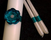 Satin rose unity candle set