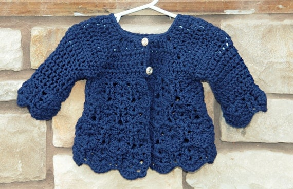 Elegant Carolyn Sweater Crochet Pattern Sizes Newborn, 0-3 and 3-6, 6-9 and 12 Months