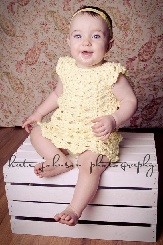 Fun Heather Dress Crochet Pattern Sizes 12 and 24 Months