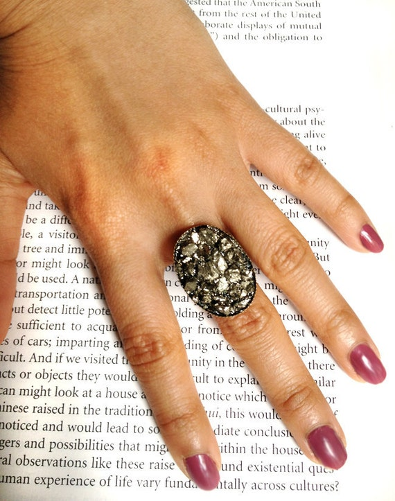 Pyrite Chunk  Ring, adjustable bronze filigree fool's gold vintage victorian nature rock iron ore