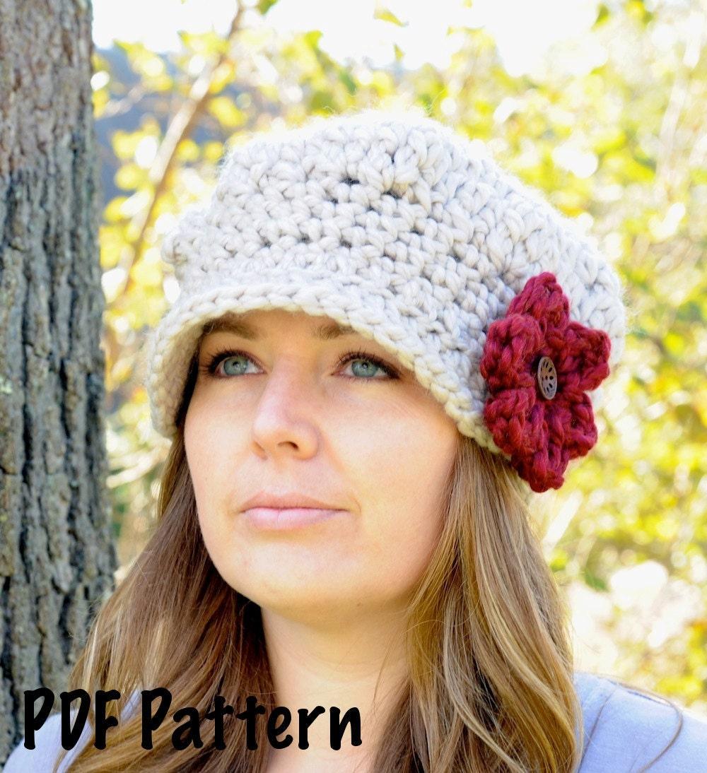 Free Crochet Chunky Newsboy Hat Pattern : Newsboy Cap Pattern Women