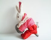 ANTIQUE wind up RABBIT with KEY, his name is Afanasei. Use him for assemblage, home decor or to keep company. - BabyshkasAttic