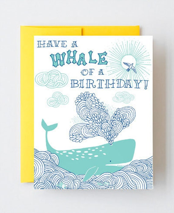 Have a Whale of a Birthday- letterpress greeting card