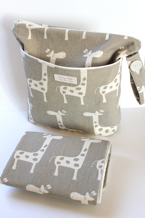 LIMITED EDITION Baby Diaper Wet Bag SET With Dry Pocket and Changing Pad Giraffes