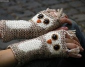 OWL GLOVES FINGERLESS Animal Woodland Forest Hand Warmers Crocheted Wrist Tweed Wool Autumn Winter Kids Adults Free Shipping Worldwide - Pomber