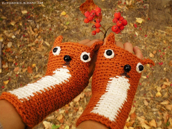 SQUIRREL GLOVES FINGERLESS Animal Mittens Hand Warmers Crocheted Fall Autumn Winter Forest Woodland Kids Adults Free Shipping Worldwide