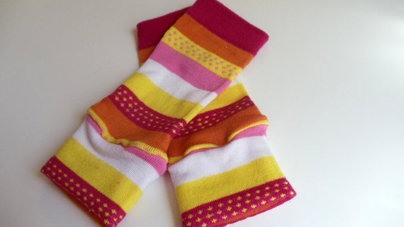 Baby Leg Warmers Pink Orange Yellow  White Stripes Star Dots