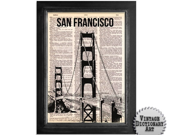 San Francisco Goldengate - printed on Recycled Vintage Dictionary Paper - 8x10.5
