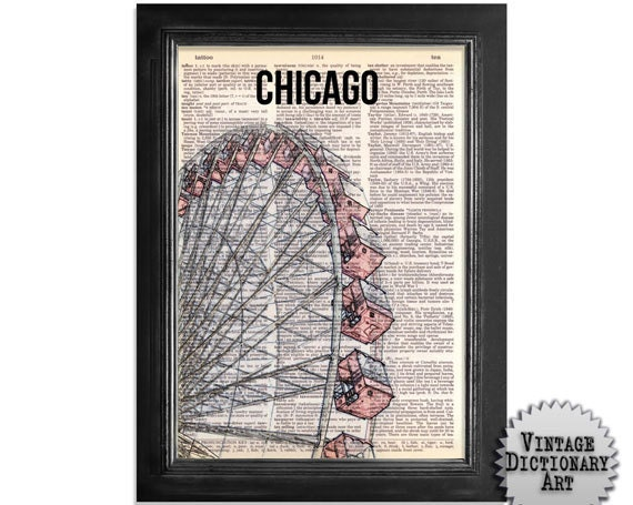 Chicago Ferris Wheel - printed on Recycled Vintage Dictionary Paper - 8x10.5