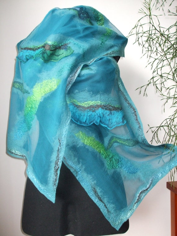 Spring Fashion Nuno Felted Wool Silk scarf shawl wrap  under 150 holiday mothers day gift for her for mom - Wave of sea