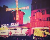Travel photography Moulin Rouge Paris night lights red gold blue dusk France street photography cityscape 8x10 fine art photo - TravelingGalPhotos
