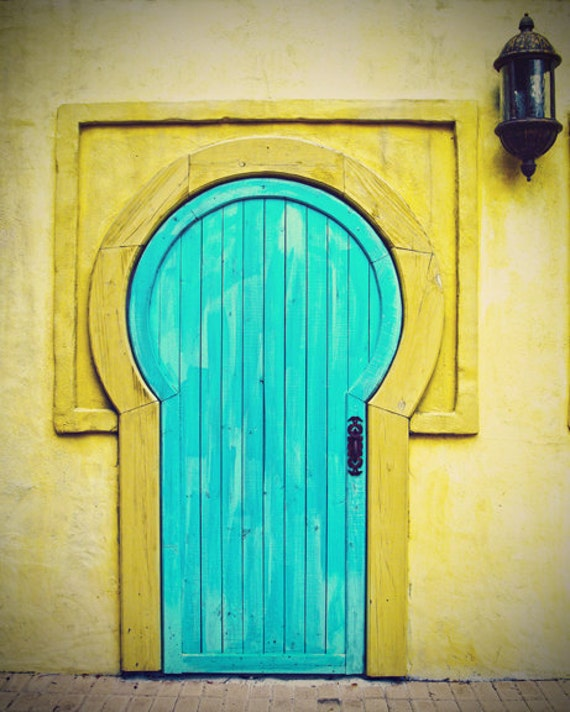 Travel photography collection doors doorway blue turquoise yellow vintage large wall art home decor 8x10 fine art photo